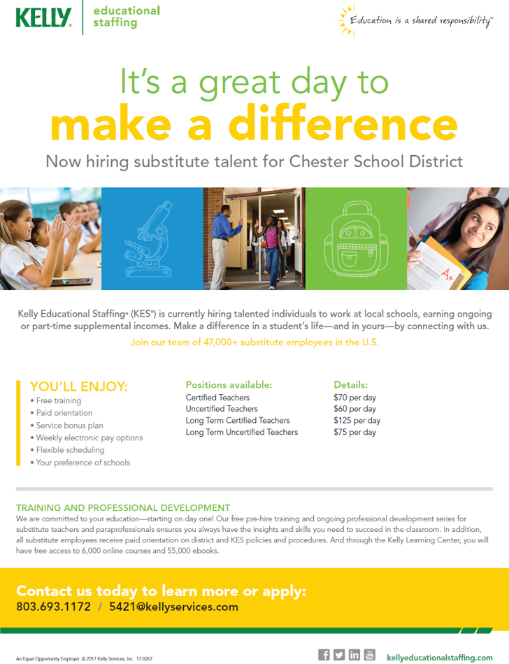 Now Hiring Substitutes for all Chester County Schools