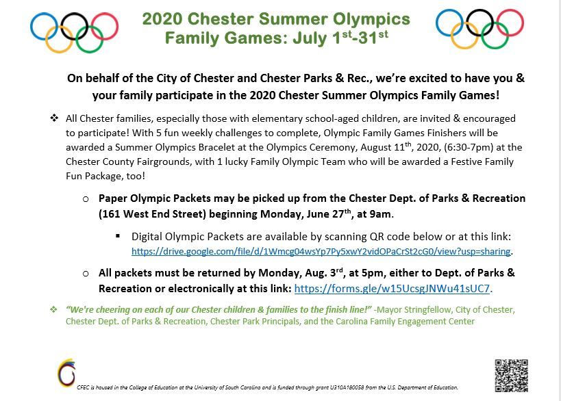 2020 Chester Summer Olympics Family Games